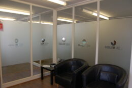 Office Branding Window Graphics Frosted Vinyl Cooler Tech